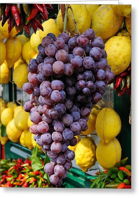 Grapes And Lemons - Fresh Fruit Greeting Card