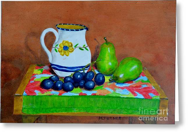 Grapes And Pairs Greeting Card by Melvin Turner