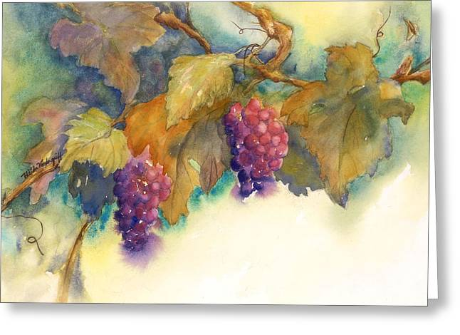 Grapes Greeting Card by Hilda Vandergriff