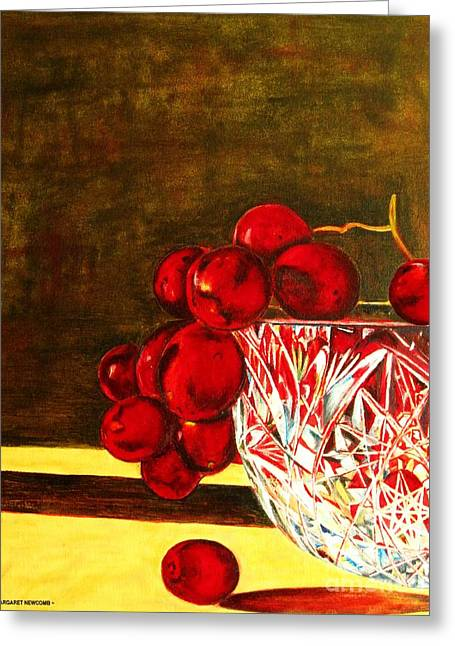 Grapes In A Crystal Bowl Greeting Card