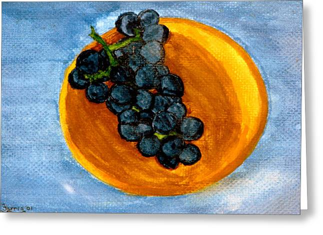 Grapes In Bowl Greeting Card by Larry Farris