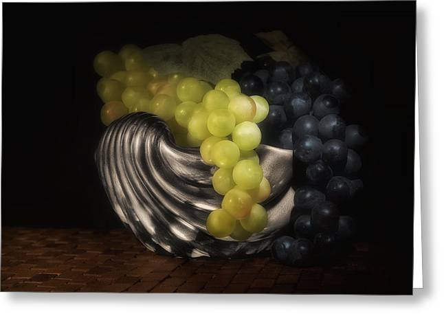 Grapes In Silver Seashell Still Life Greeting Card by Tom Mc Nemar