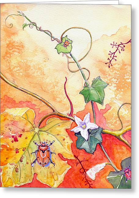 Grapevine Beetle Greeting Card by Katherine Miller