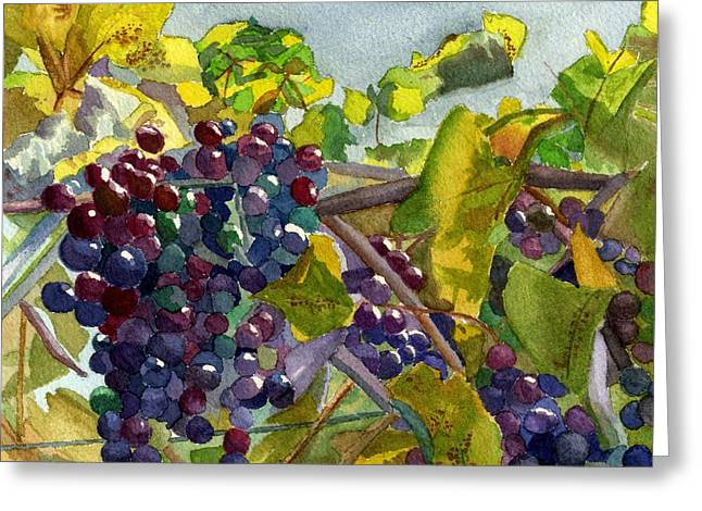 Greeting Card featuring the painting Grapevines by Lynne Reichhart