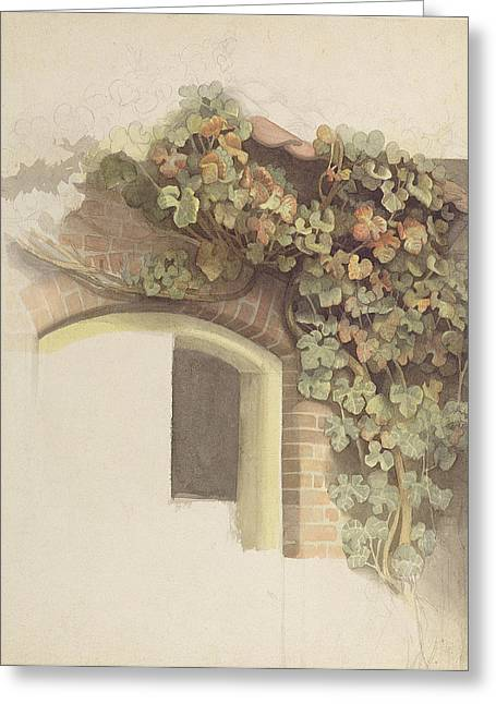 Grapevines On A Brick House, 1832 Pencil And Wc On Paper Greeting Card