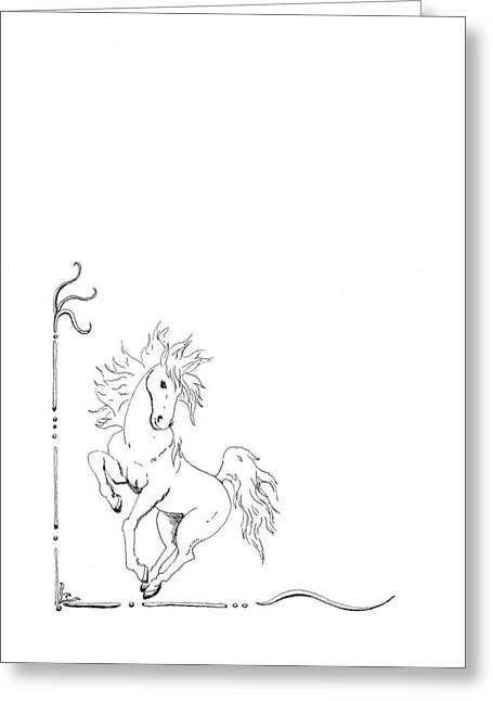 Graphic Horse Greeting Card by Lee Halbrook