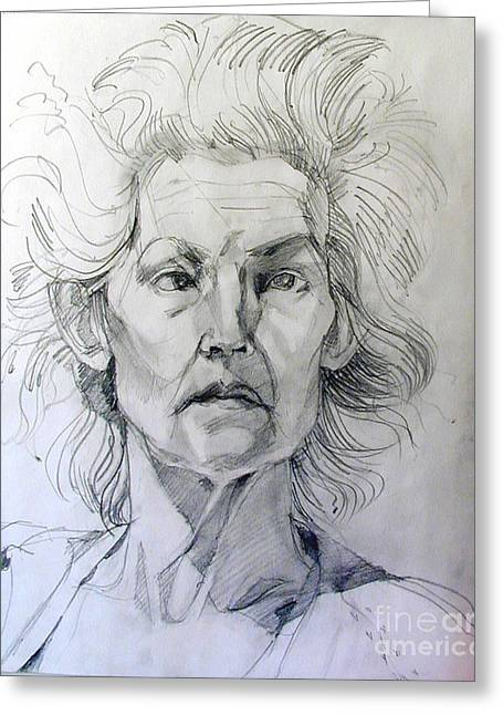 Greeting Card featuring the drawing Graphite Portrait Sketch Of A Well Known Cross Eyed Model by Greta Corens