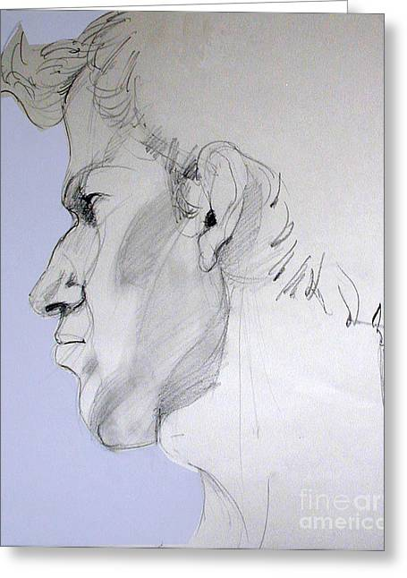 Greeting Card featuring the drawing Graphite Portrait Sketch Of A Young Man In Profile by Greta Corens