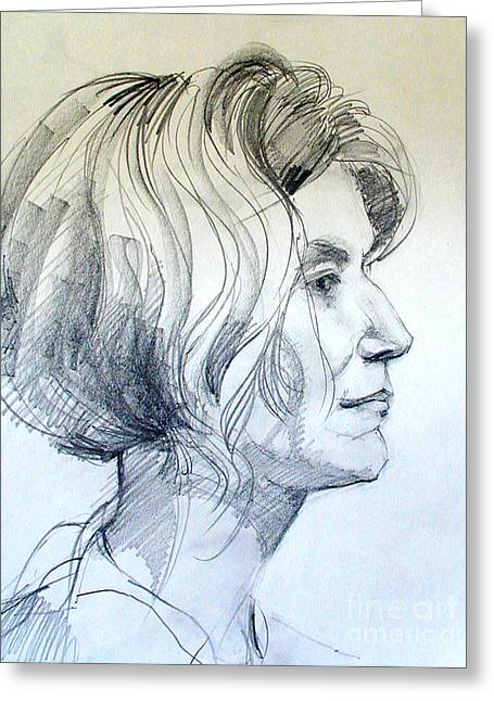 Portrait Drawing Of A Woman In Profile Greeting Card