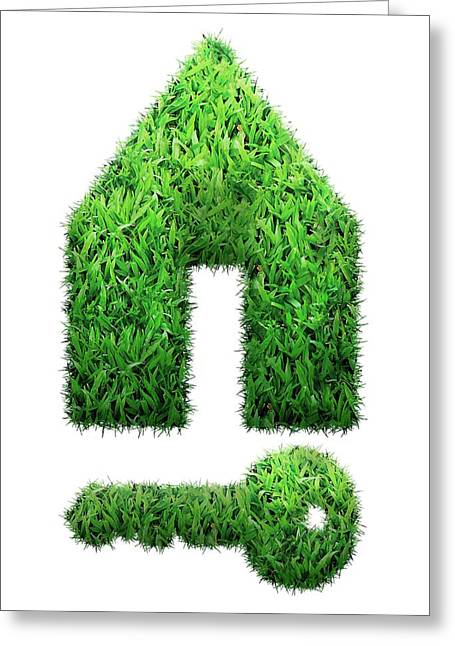 Grass House And Key Greeting Card by Victor Habbick Visions