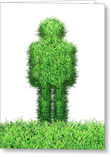 Grass Human Figure Greeting Card by Victor Habbick Visions