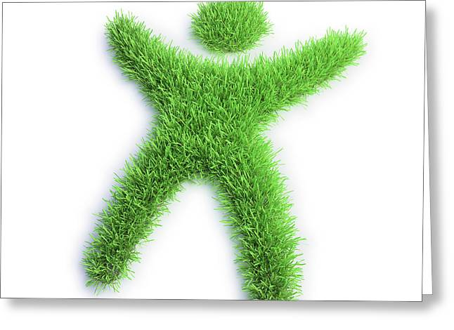 Grass In The Shape Of A Person Greeting Card
