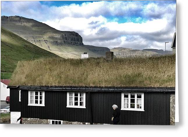 Grass Roof House In Faroe Islands Greeting Card