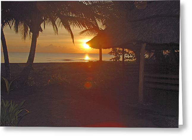 Grass Shack Sunrise Greeting Card