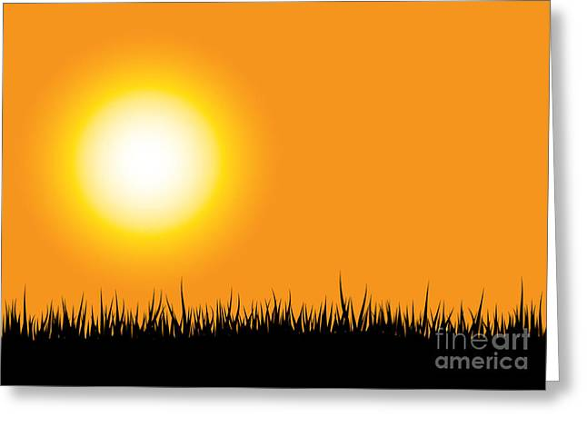 Grass Silhouette Orange Greeting Card by Aleksey Tugolukov