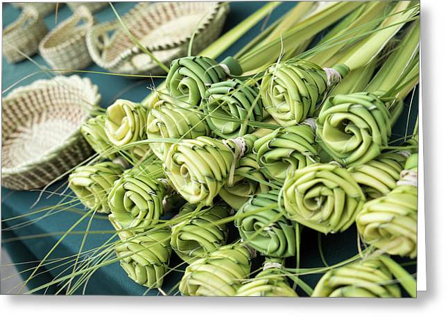 Grass Woven Roses For Sale At Market Greeting Card by Julien Mcroberts