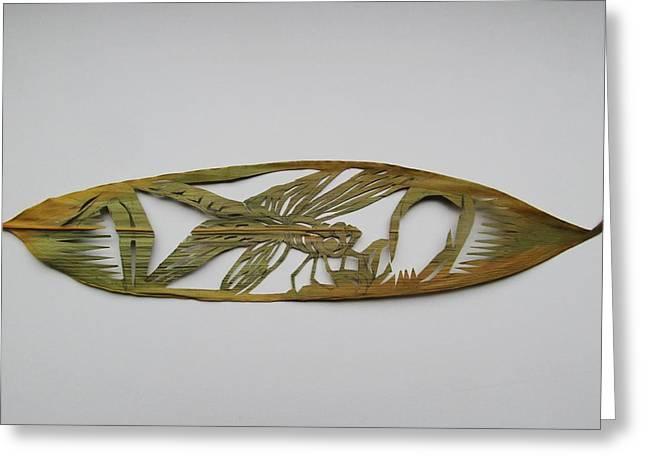Grasshopper On Bamboo Leaf Greeting Card by Alfred Ng