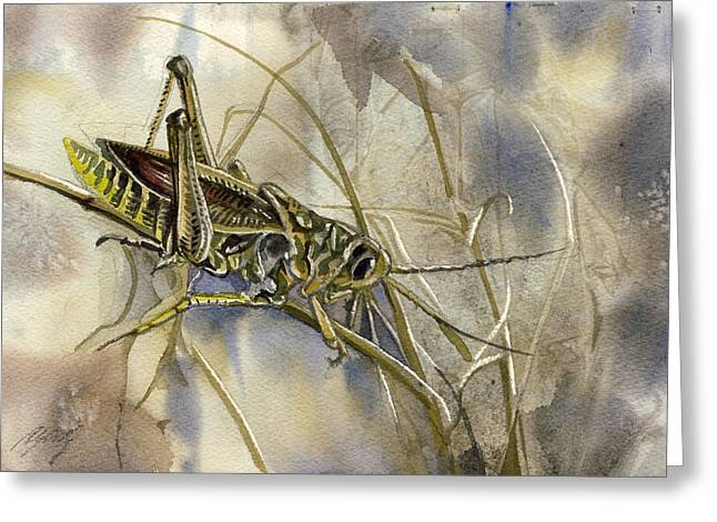 Grasshopper Watercolor Greeting Card by Alfred Ng