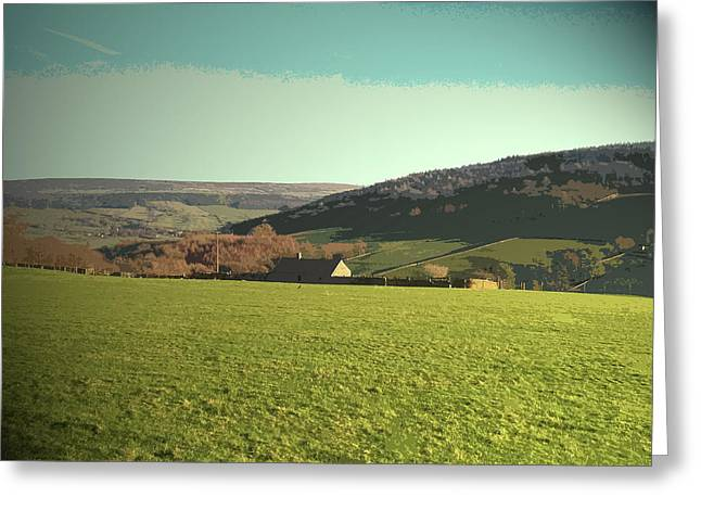 Grassland Near Calton Houses, Evening Sunshine And Greenery Greeting Card