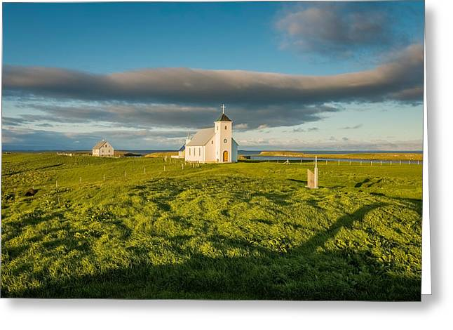 Grasslands And Flatey Church, Flatey Greeting Card by Panoramic Images
