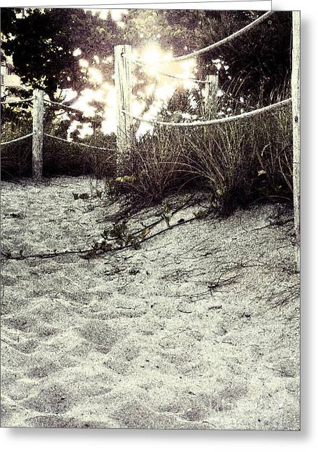 Grassy Beach Post Entrance At Sunset 2 Greeting Card