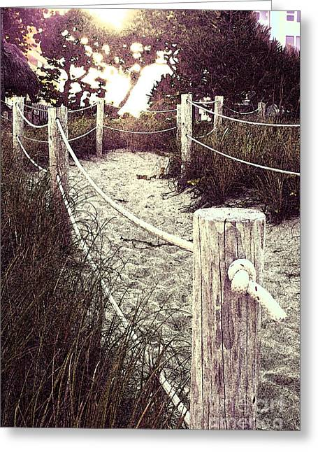 Grassy Beach Post Entrance At Sunset Greeting Card