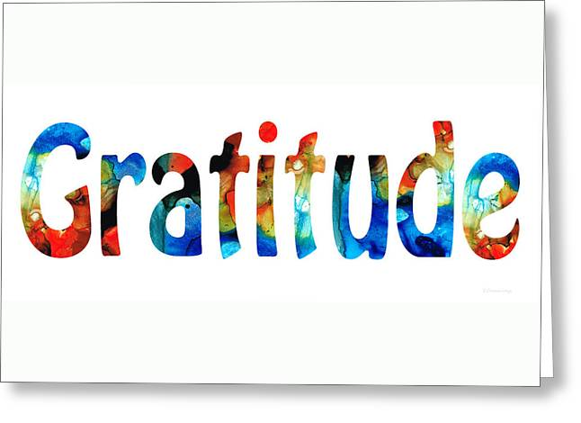 Gratitude 2 - Inspirational Art Greeting Card by Sharon Cummings