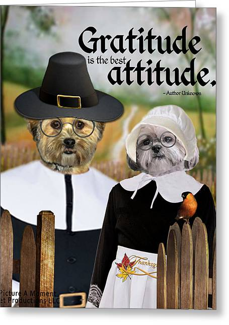 Gratitude Is The Best Attitude-1 Greeting Card by Kathy Tarochione