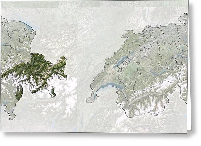 Graubunden, Switzerland, Satellite Image Greeting Card