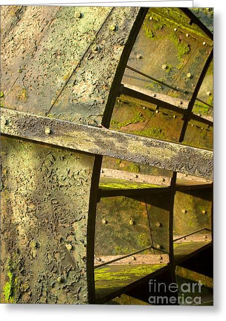 Graue Mill Algae Covered Water Wheel Close Up Greeting Card