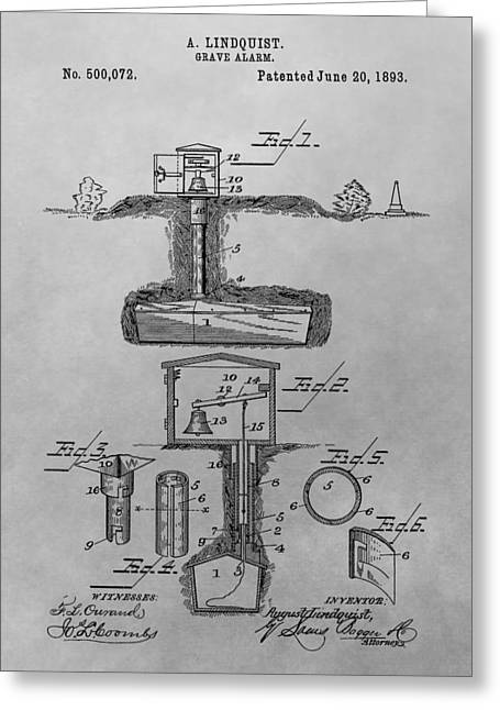Grave Alarm Patent Drawing Greeting Card