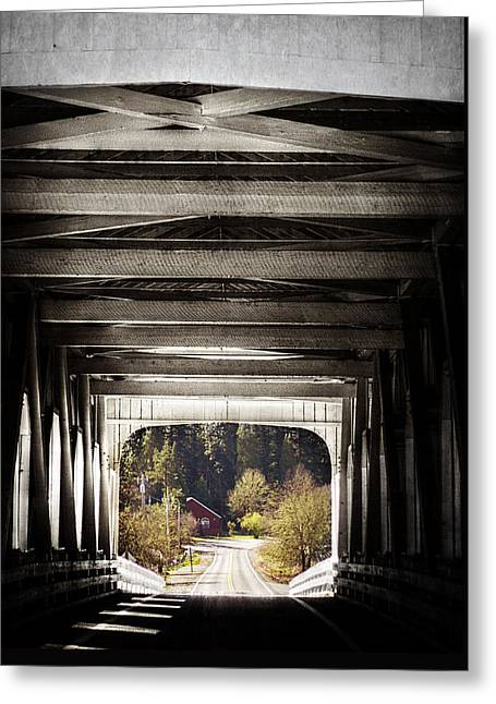 Grave Creek Covered Bridge Greeting Card by Melanie Lankford Photography