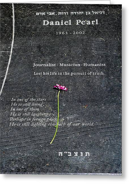 Grave Of Daniel Pearl Greeting Card by Jeff Lowe