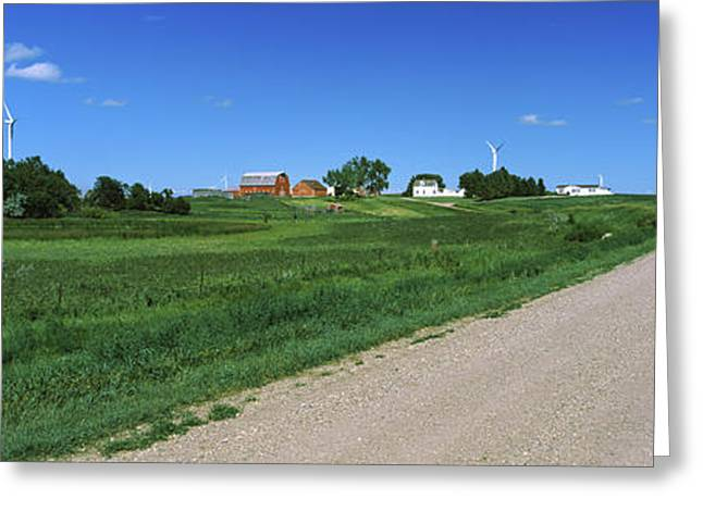 Gravel And Dirt Road Through Farm Greeting Card