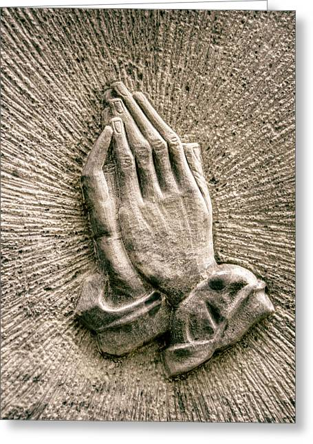 Gravestone Hands Greeting Card by Mr Doomits