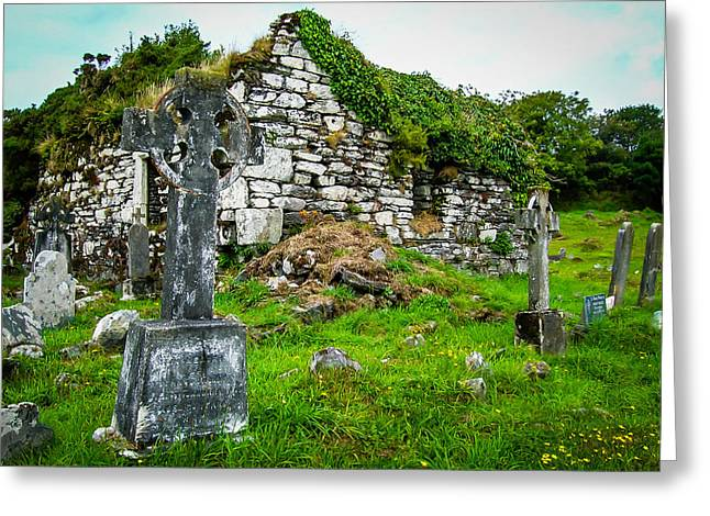 Graveyard And Church Ruins On Ireland's Mizen Peninsula Greeting Card
