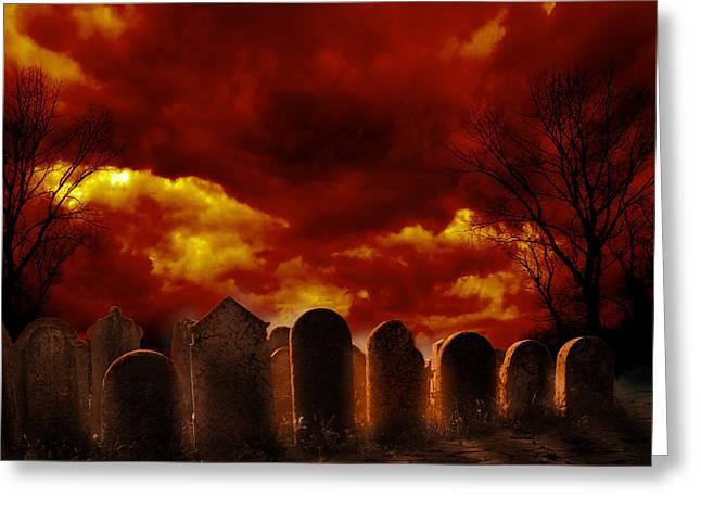 Graveyard Greeting Card by Jelena Jovanovic