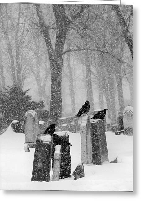 Graveyard Snow With Four Ravens  Greeting Card by Gothicrow Images