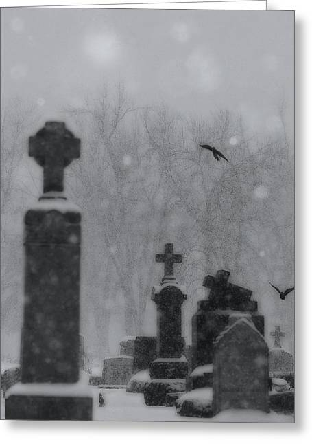 Graveyard Snowfall  Greeting Card by Gothicrow Images