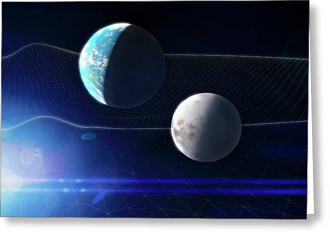 Gravitational Waves And Earth Greeting Card by Ramon Andrade 3dciencia