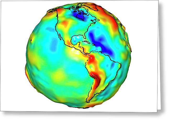 Gravity Map Of Earth Greeting Card by Nasa/jpl/university Of Texas Center For Space Research