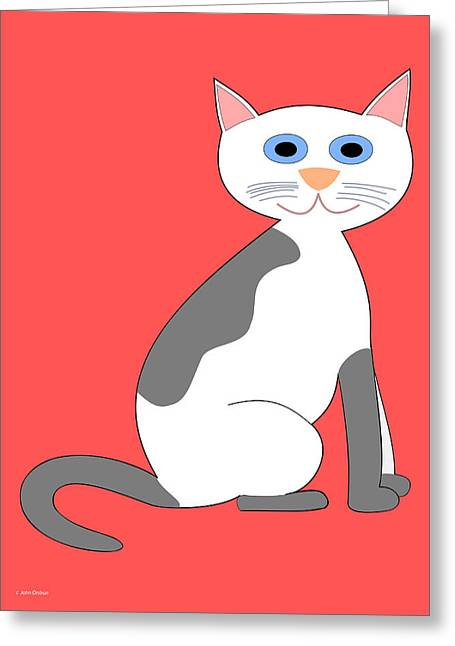 Gray And White Smiling Cat Greeting Card
