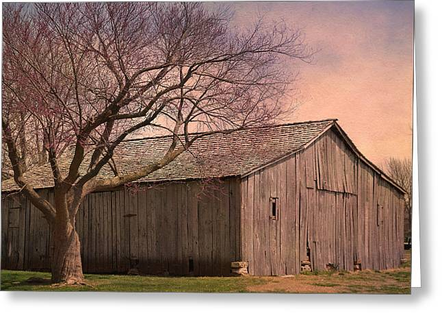 Gray Campbell Farmstead Barn Greeting Card by Deena Stoddard