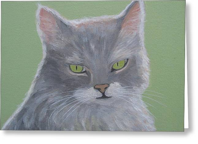 Cat With Green Eyes  Greeting Card
