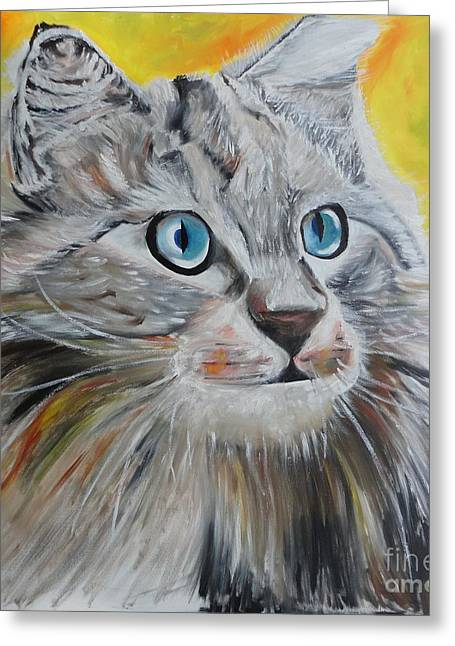 Greeting Card featuring the painting Gray Cat by PainterArtist FIN