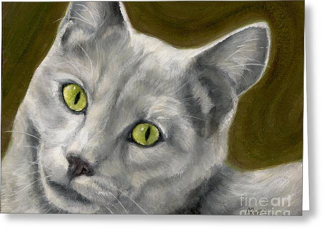Gray Cat With Green Eyes Greeting Card by Amy Reges