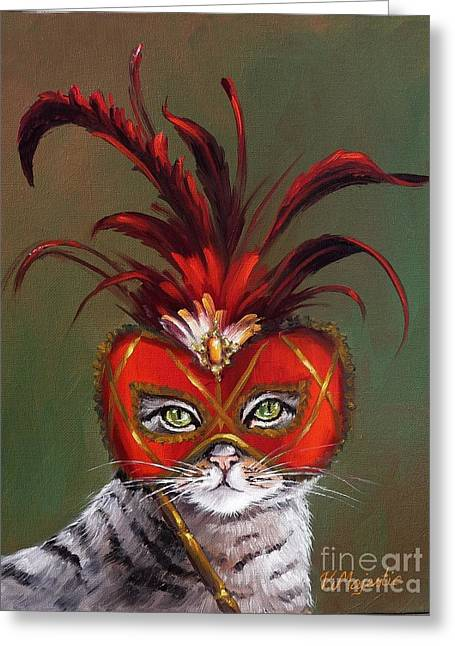 Gray Cat With Venetian Mask Fairy Tale Greeting Card