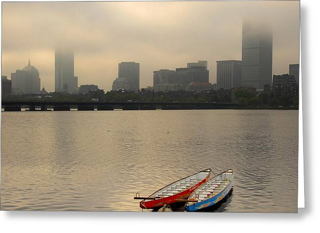 Gray Day On The Charles River Greeting Card