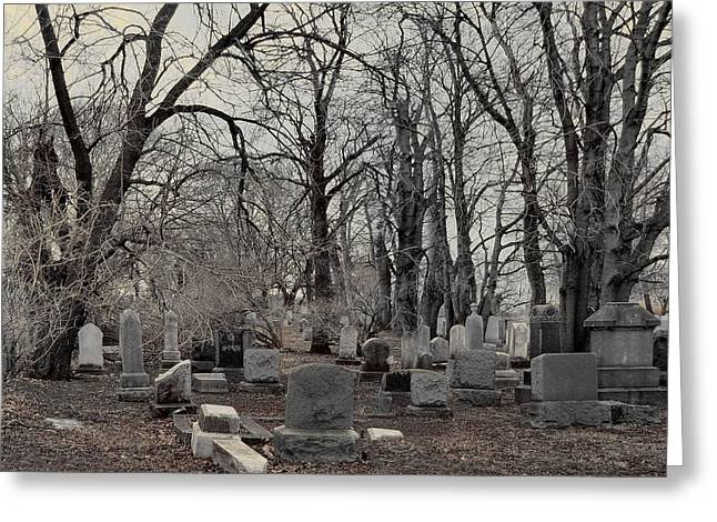 Gray Graveyard Trees Greeting Card by Gothicrow Images