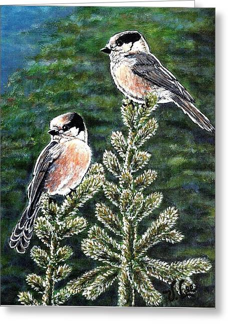 Greeting Card featuring the painting Gray Jays by VLee Watson